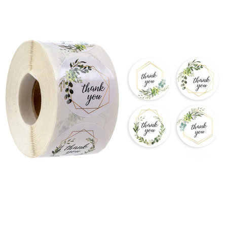 """Round Seal Stickers """"Thank You"""" 25mm Green Flower"""