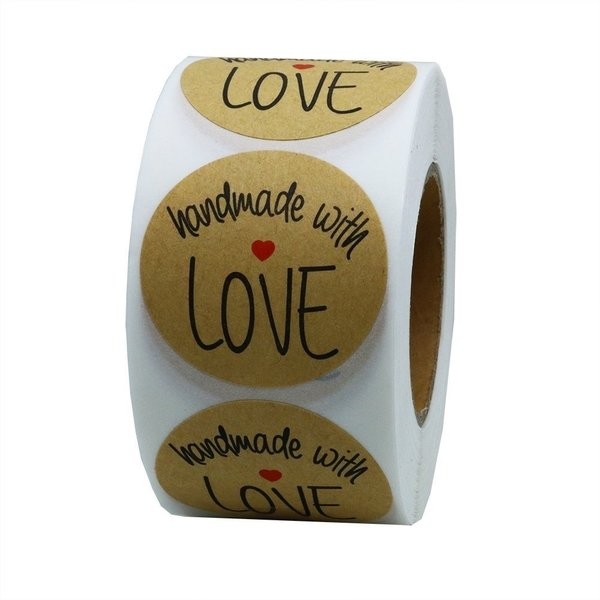 "Round Seal Stickers ""Handmade with Love"" 25mm Brown"