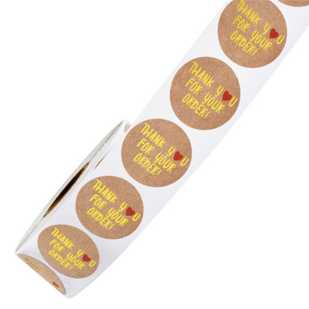 "Round Seal Stickers ""Thank You"" 25mm Brown Gold"