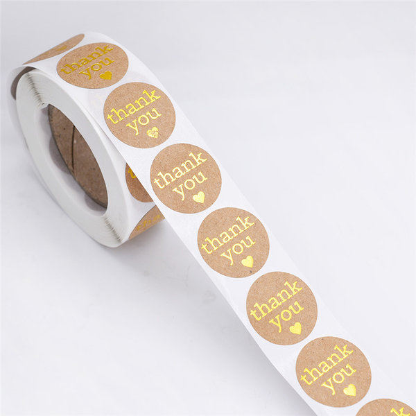 "Round Seal Stickers ""Thank You"" 25mm Brown Gold with Heart"