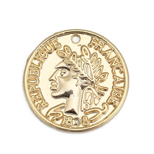 3 pieces Antique Coin Charm Gold Plated 20mm