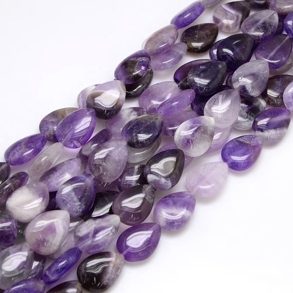 Natural Amethyst Drop Beads 18x13mm, strand 22 pieces