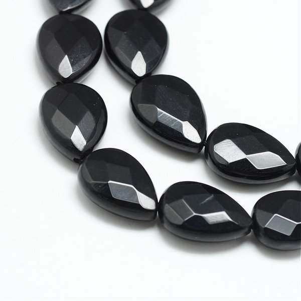 Natural Black Stone Faceted Dropbeads 18x13mm, strand 22 pieces