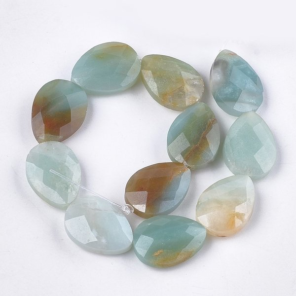 Natural Amazonite Faceted Dropbeads 18x13mm, strand 11 pieces
