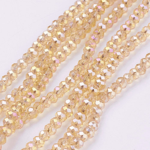Faceted glass beads Topaz Shine 2.5x3.5mm, 80 pieces