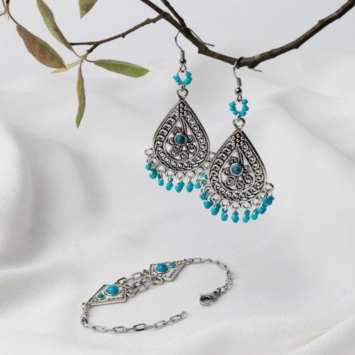 Bohemian Oorbellen en Armband Setje Zilver Turquoise