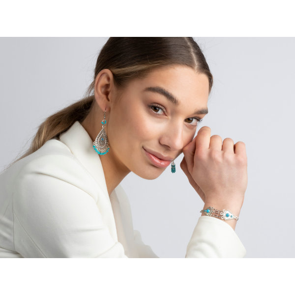 Bohemian Style Earrings and Bracelet Set Silver Turquoise