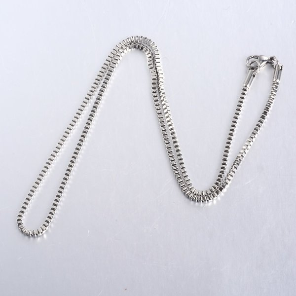 Stainless Steel Box Chain 2mm Necklace Silver 45cm