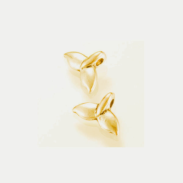 Whale Dolphin Tail Charm Gold 8x11mm, 8 pieces