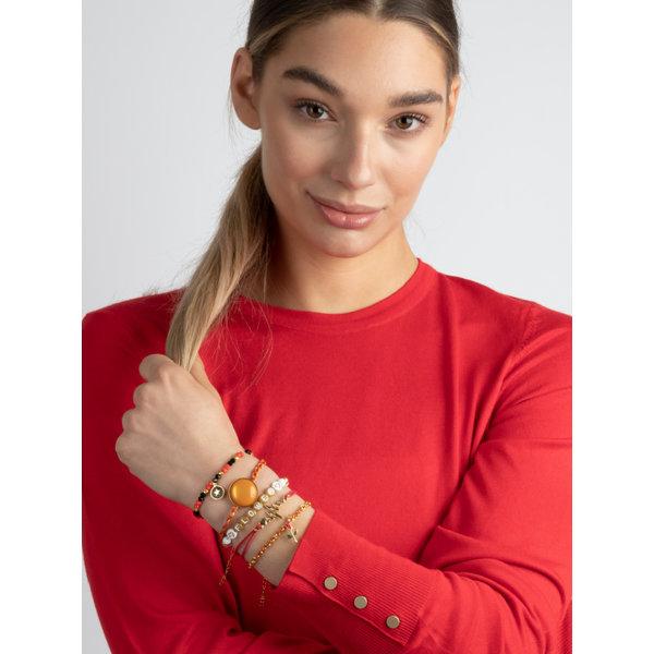 Setje Vrolijke Armbandjes met Rood, Wit en Goud