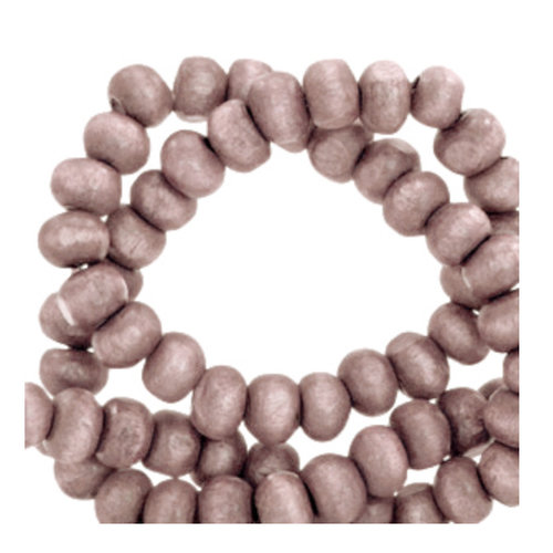 100 pieces Wooden Beads Vintage Taupe 6mm