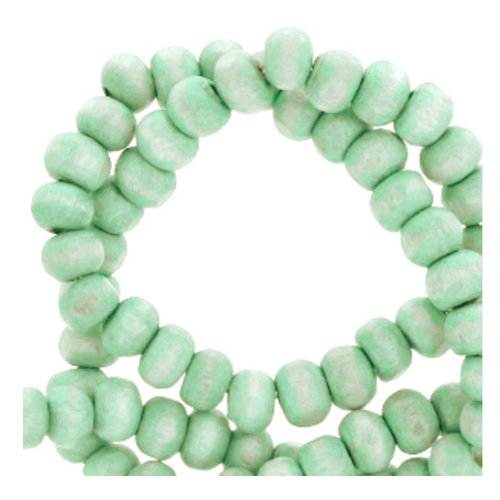 100 pieces Wooden Beads Vintage Mint Green 6mm