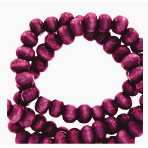100 pieces Wooden Beads Eggplant 6mm