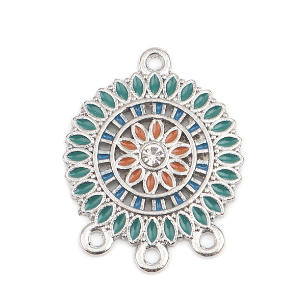 2 pieces Dream Catcher Connector with Rhinestone 28x22mm Green