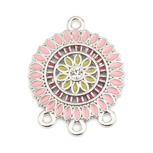 2 pieces Dream Catcher Connector with Rhinestone 28x22mm Pink