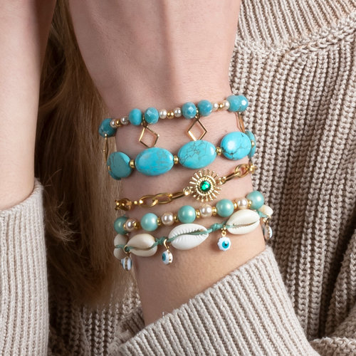 Turquoise Bracelets with Shell Beads and Gemstones