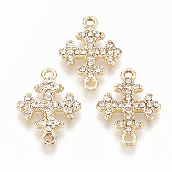 Cross with Rhinestones Link 22x16mm Golden White