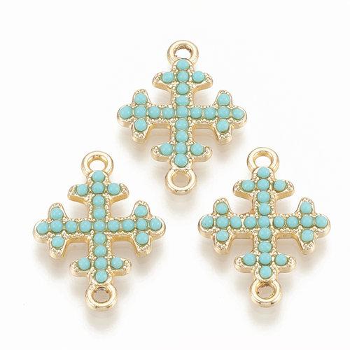 Cross Link 22x16mm Golden Turquoise