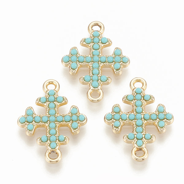 Kruisje Tussenzetsel 22x16mm Goud Turquoise