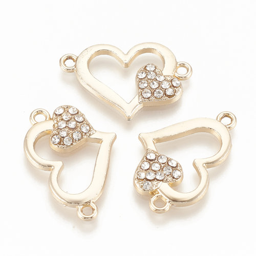 Hearts with Rhinestones Link 16.5x25mm Golden Crystal