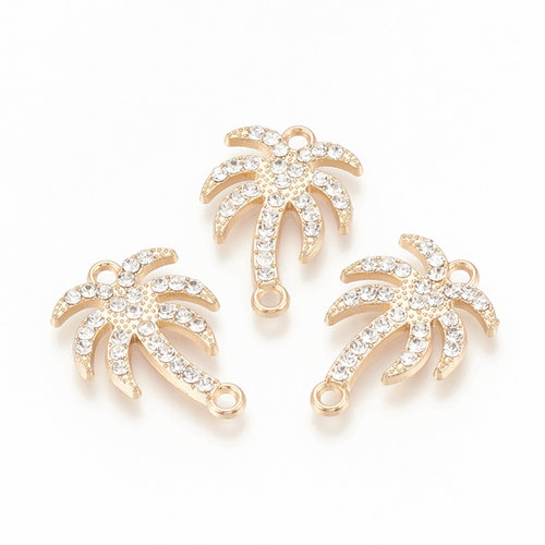 Palm Tree with Rhinestones Link 23x16mm Golden Crystal
