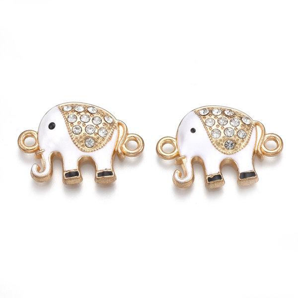 Connector Rhinestone Elephant Gold White 23x16mm