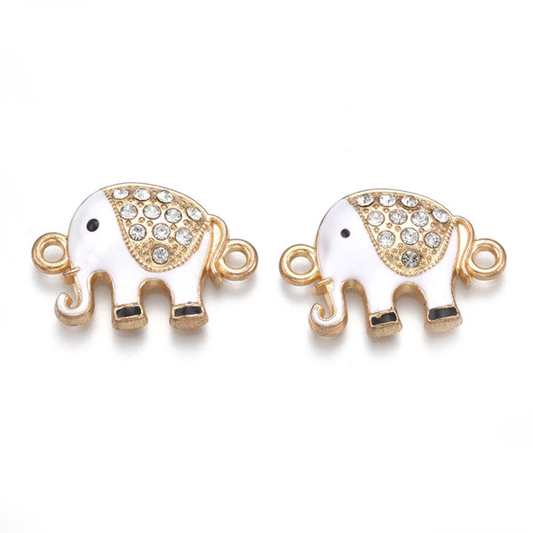 Tussenzetsel Olifant met Strass Goud Wit 23x16mm
