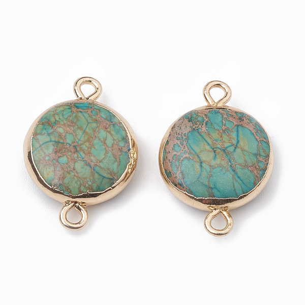 Natural Jasper Round Link 24x17mm Gold Turquoise