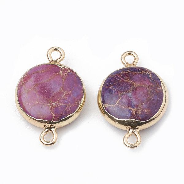 Natural Jasper Round Link 22x14mm Gold Purple
