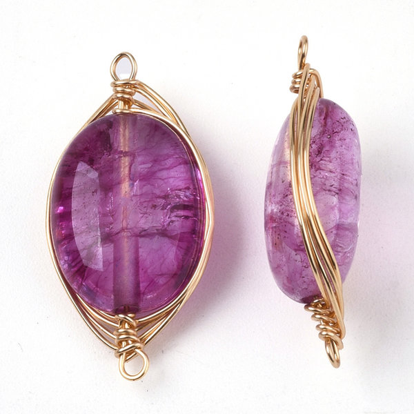 Wire Wrapped Crystal Glass Connector Pink 23x11mm
