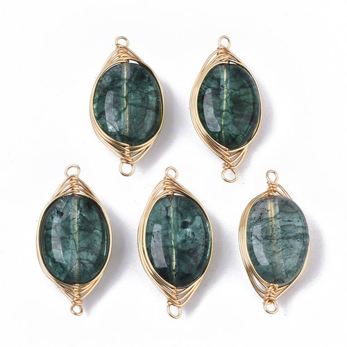 Wire Wrapped Crystal Glass Tussenzetsel Donker Groen 23x11mm