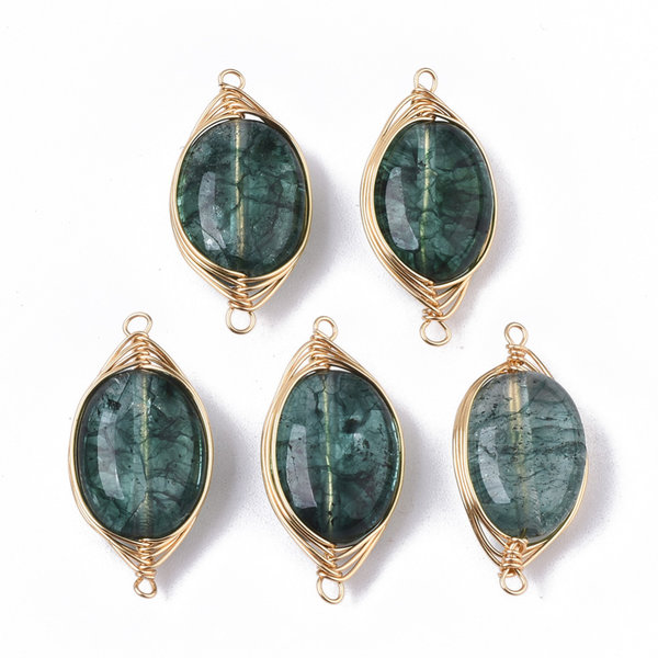 Wire Wrapped Crystal Glass Connector Dark Green 23x11mm