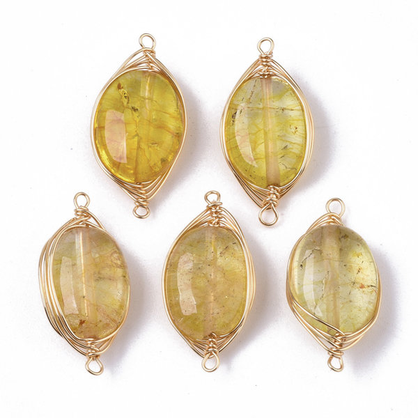 Wire Wrapped Crystal Glass Connector Yellow 23x11mm