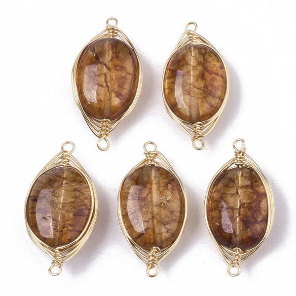Wire Wrapped Crystal Glass Connector Brown 23x11mm