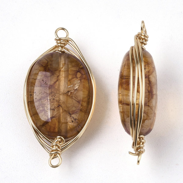 Wire Wrapped Crystal Glass Tussenzetsel Bruin 23x11mm