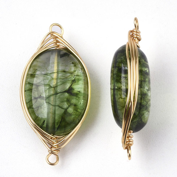 Wire Wrapped Crystal Glass Connector Green 23x11mm