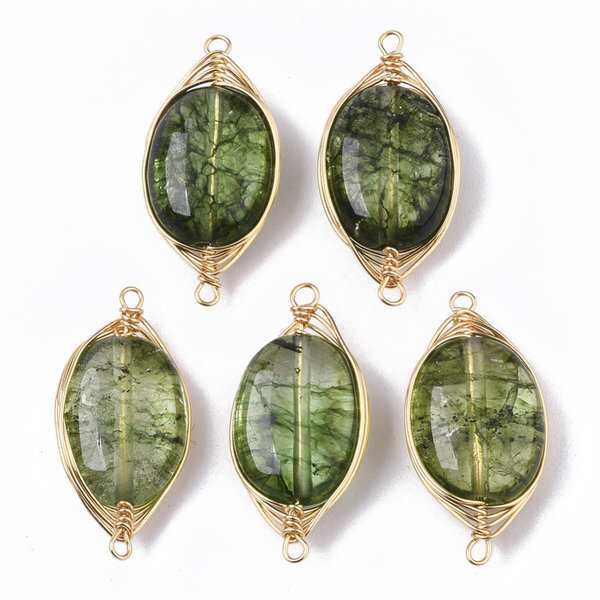 Wire Wrapped Crystal Glass Tussenzetsel Groen 23x11mm