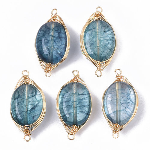 Wire Wrapped Crystal Glass Tussenzetsel Blauw 23x11mm