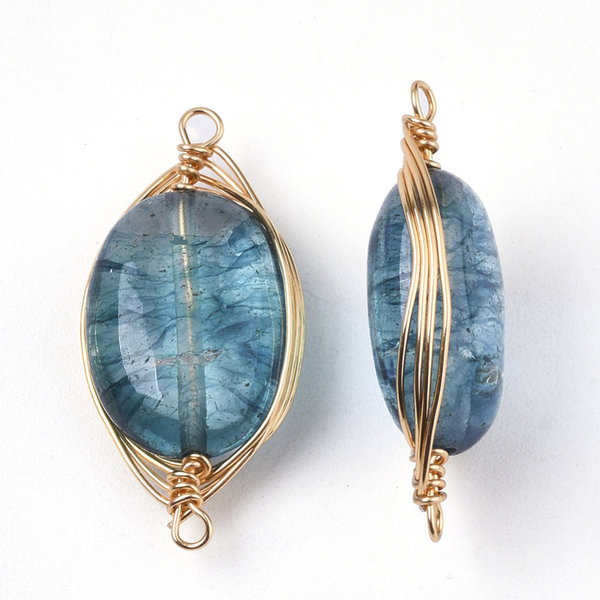 Wire Wrapped Crystal Glass Connector Blue 23x11mm