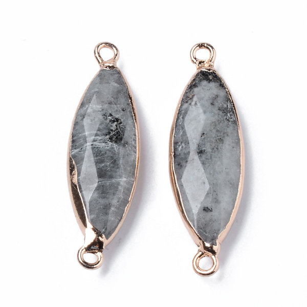 Natural Labradorite Faceted Link Gold Plated 34x10mm