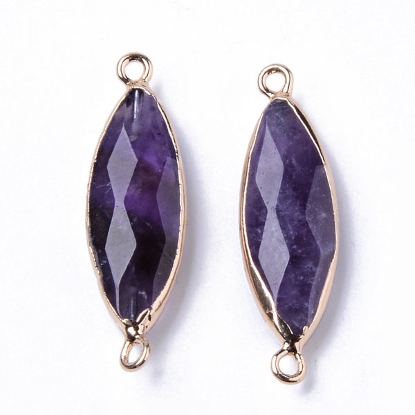 Natural Amethyste Faceted Link Gold Plated 34x10mm