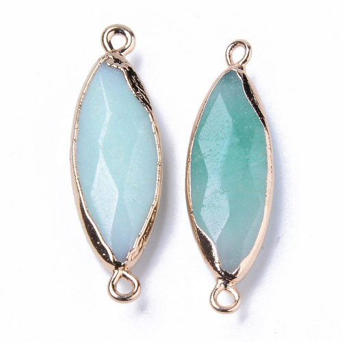 Natural Amazonite Link Gold Plated 34x10mm