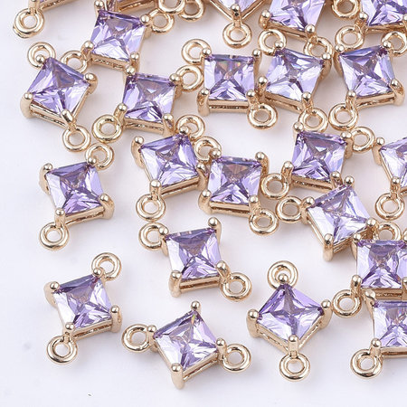 Rhombus Crystal Glass Connector 11x7mm  Purple