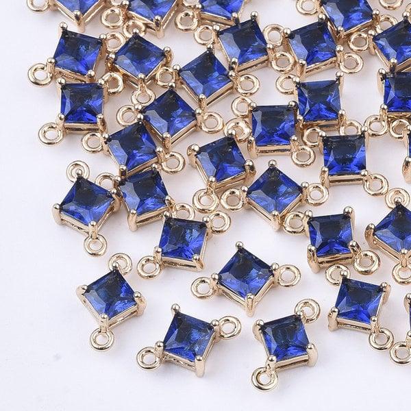 Rhombus Crystal Glass Connector 11x7mm Blue