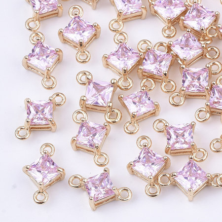 Rhombus Crystal Glass Connector 11x7mm Pink