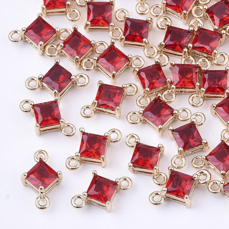 Rhombus Crystal Glass Connector 11x7mm Red