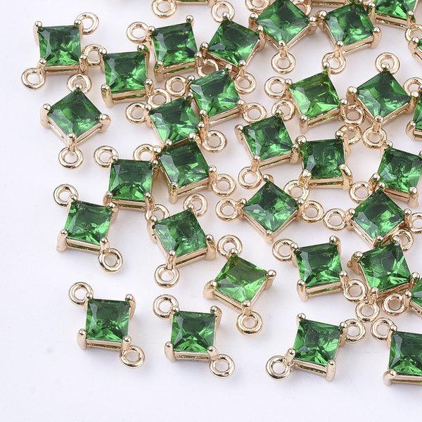 Rhombus Crystal Glass Connector 11x7mm Green