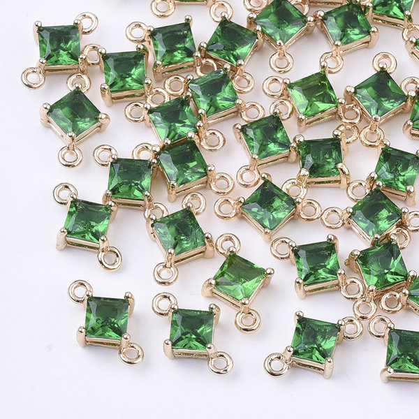 Ruit Crystal Glass Tussenzetsel 11x7mm Groen