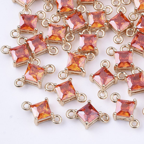 Rhombus Crystal Glass Connector 11x7mm Shiny Orange