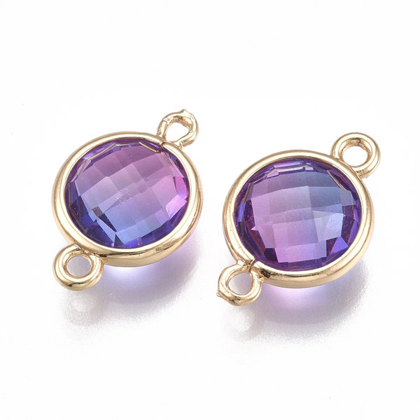 Round Faceted Connector Golden Purple 17.5x11.5mm